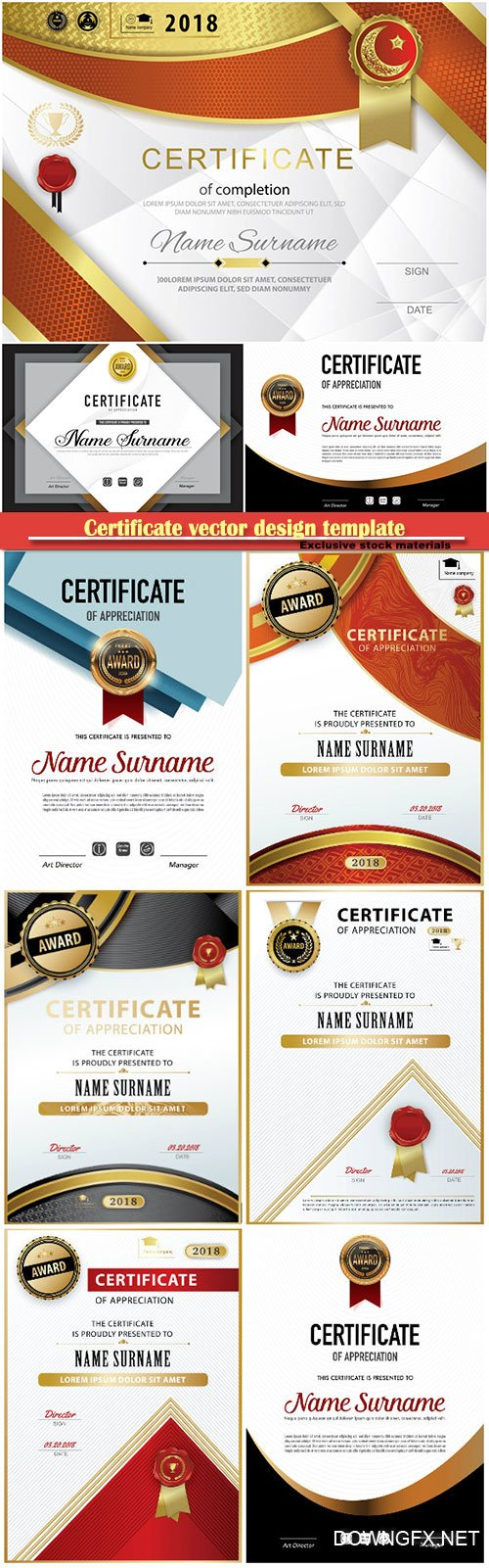 Certificate and vector diploma design template # 69