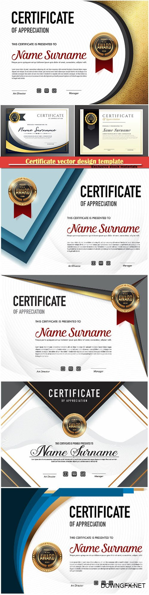Certificate and vector diploma design template # 68