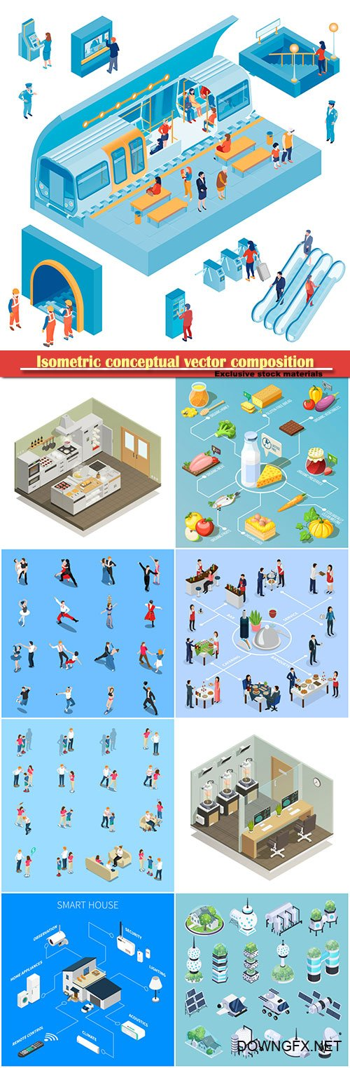 Isometric conceptual vector composition, infographics template, horizontal banners set # 6