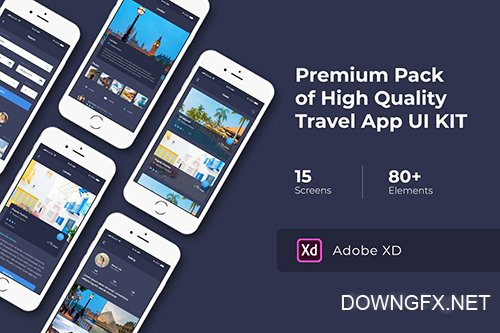 Travel App UI KIT for Photoshop Sketch and XD