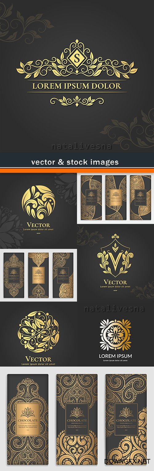 Gold decorative elements and logos of design