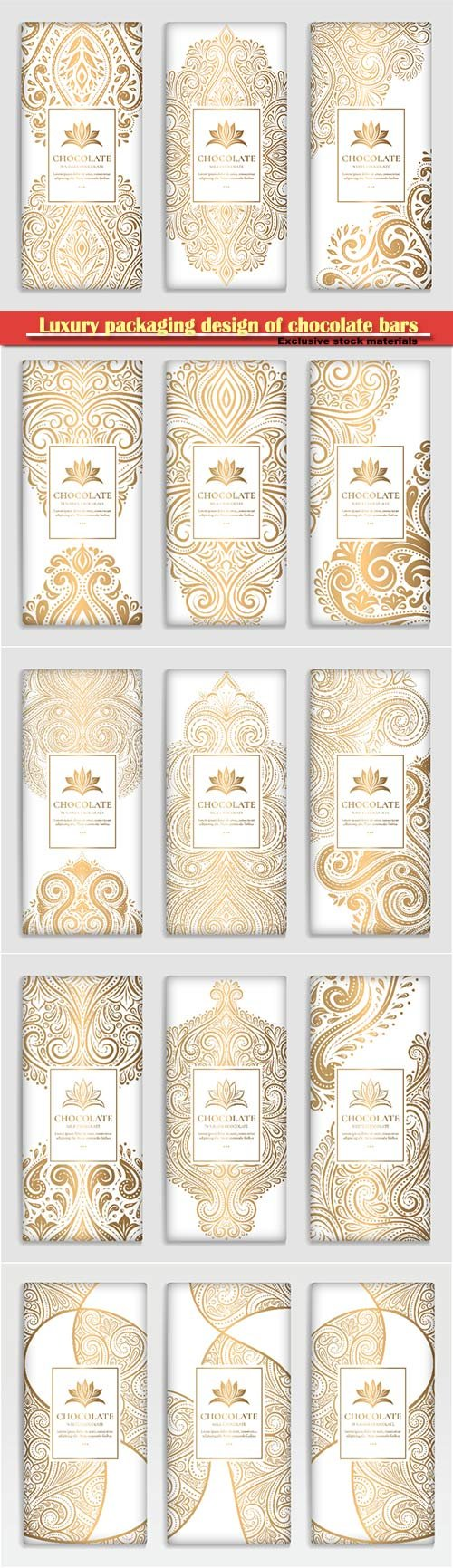 Luxury golden packaging design of chocolate bars