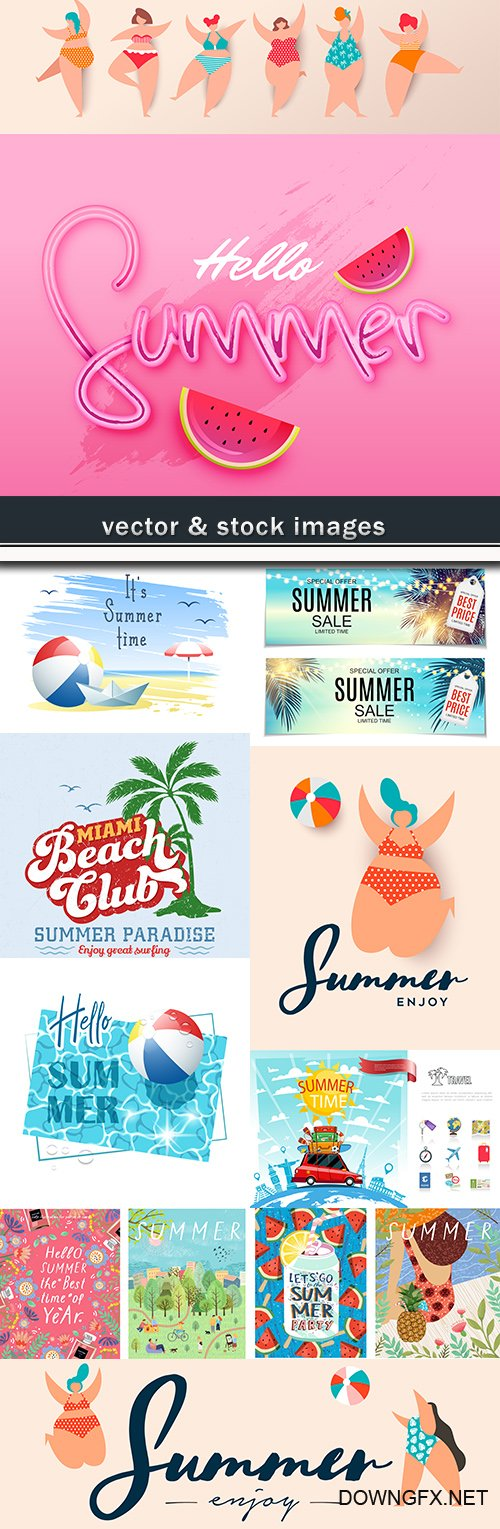 Summer sales and decorative background illustrations