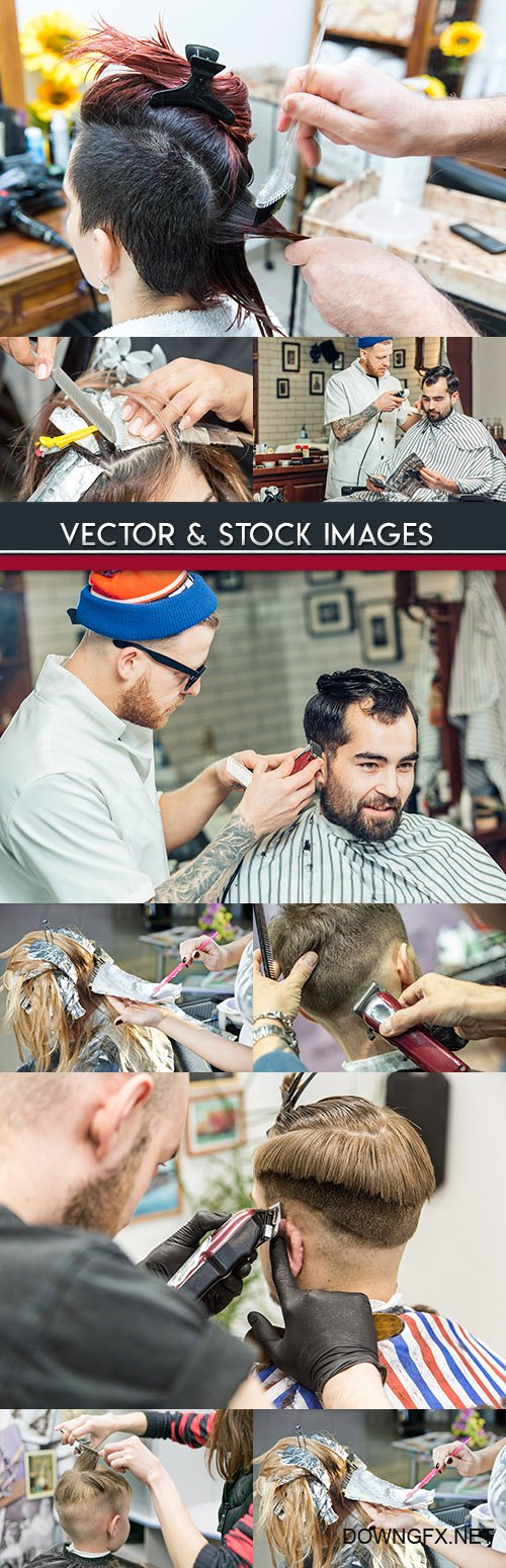 Young hairdresser coloring women's and hairstyle male hair