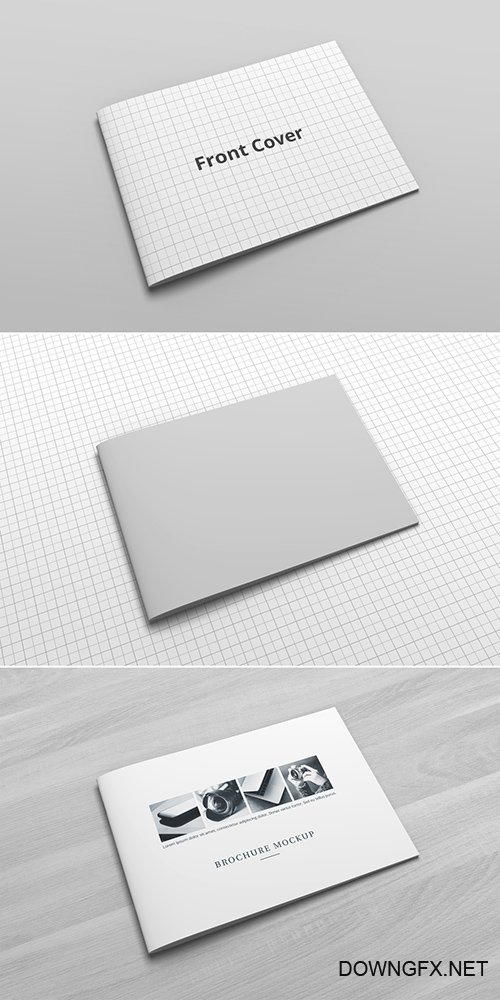 PSDT Stapled Landscape Oriented Brochure Catalog Mockup Cover 259360430