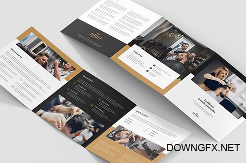 Brochure – Barber Shop Tri-Fold Square PSD