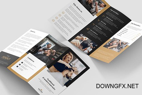 Brochure – Barber Shop Tri-Fold PSD