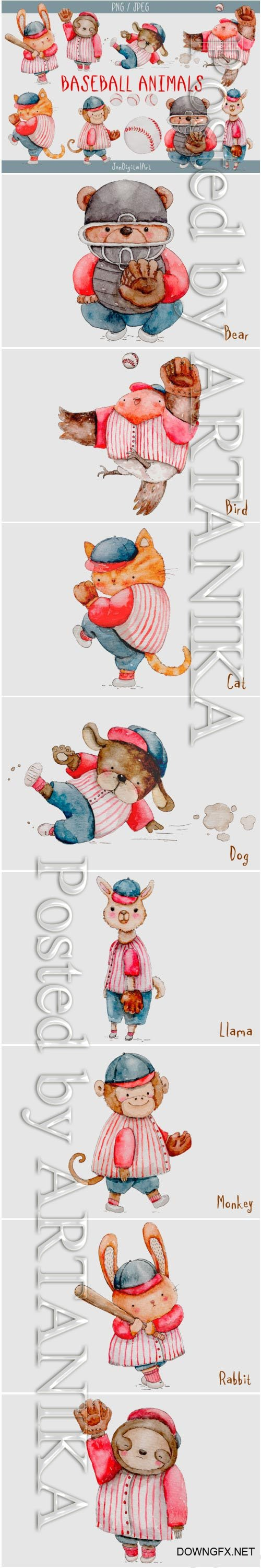 Watercolor Baseball Animals PNG SET 1475838