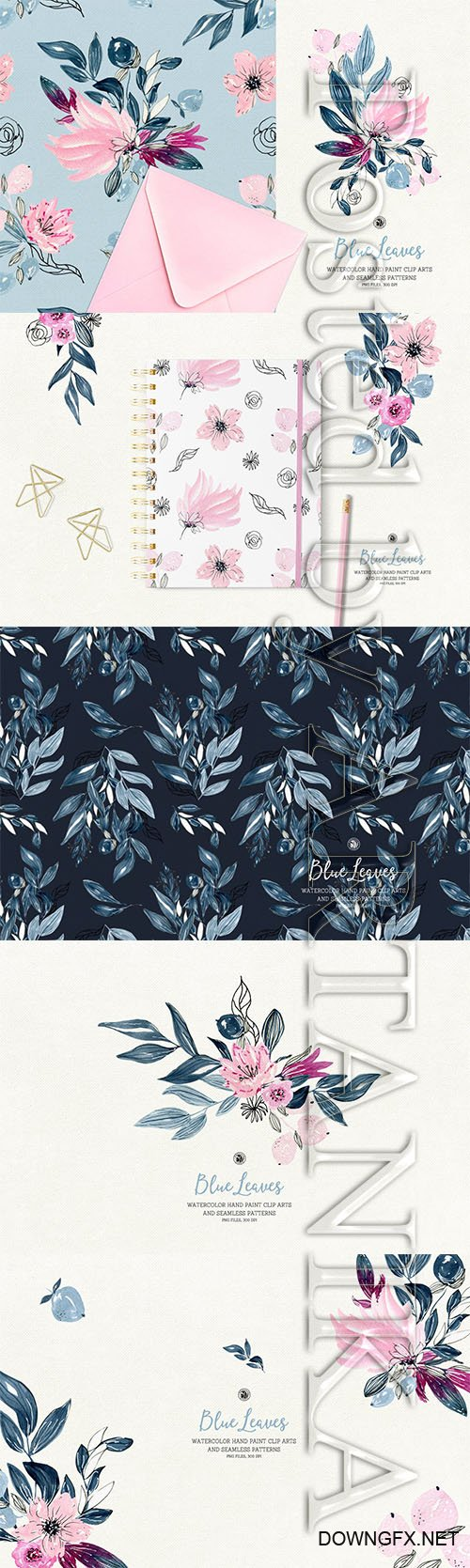 Blue Leaves PNG Set