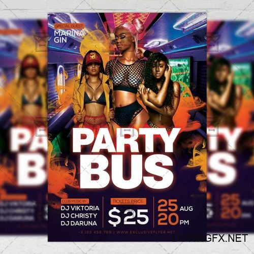 PSD Club A5 Template - Party Bus Event