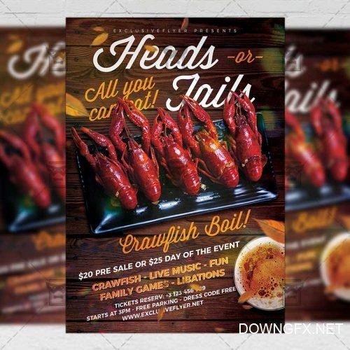PSD Food A5 Template - Massive Crawfish Boil Flyer