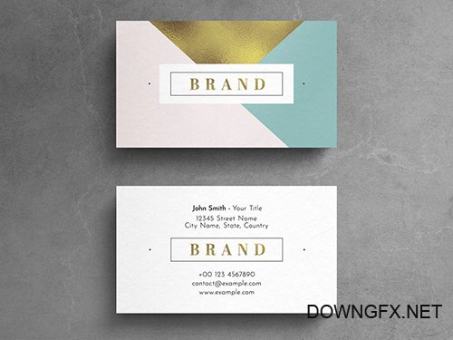 Geometric Pastel Business Card Layout with Gold Leaf Element 264617896 PSDT