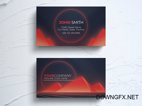 Business Card Layout with Retro Pyramid Elements 264617870 PSDT