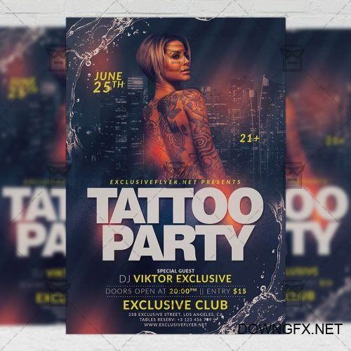 PSD Club A5 Template - Tattoo Party Flyer