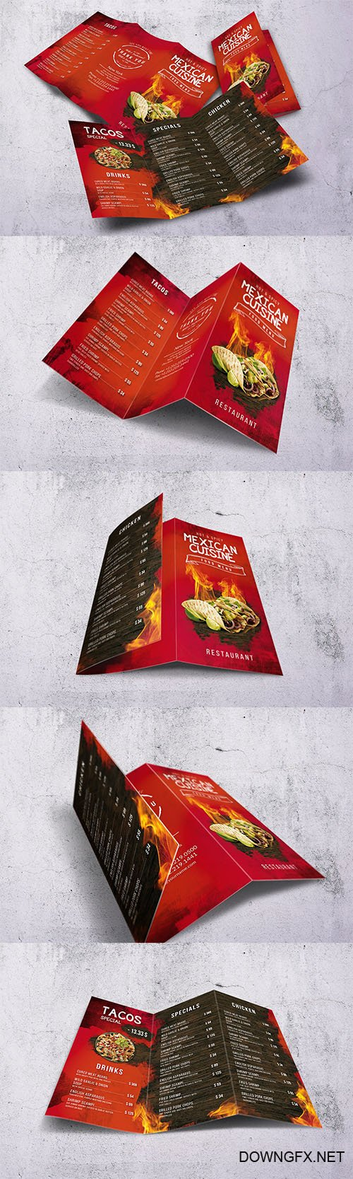 Mexican A4 & US Letter Trifold Food Menu PSD
