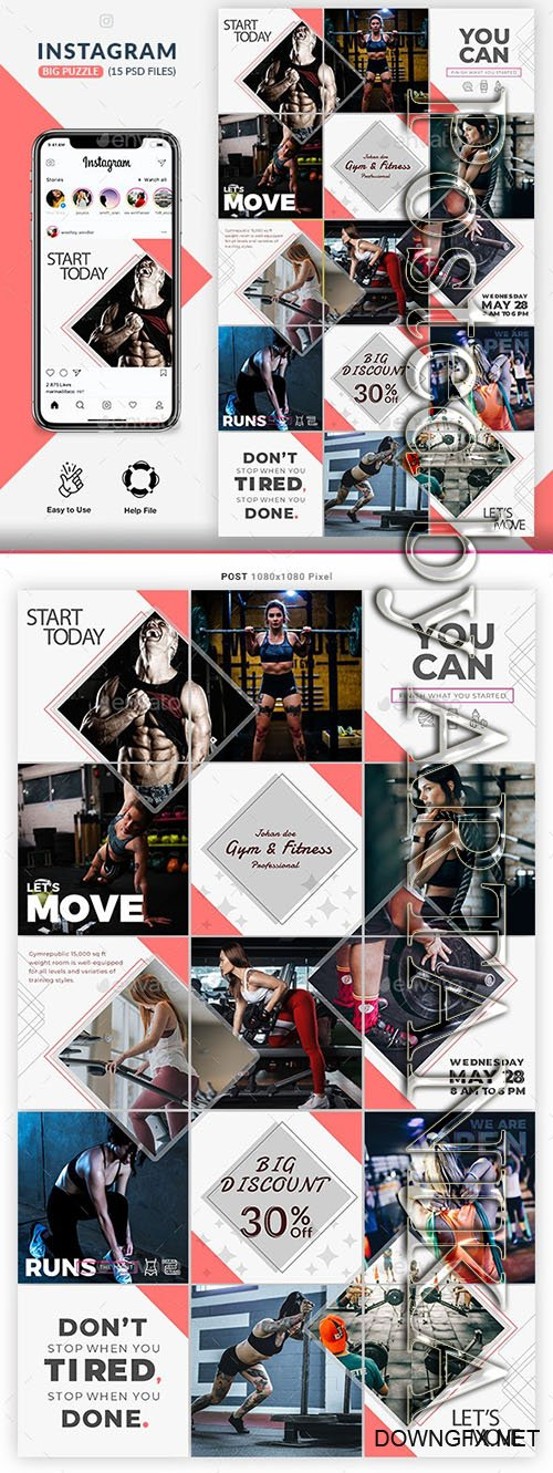 Fitness GYM Instagram Puzzle Templates 23953564
