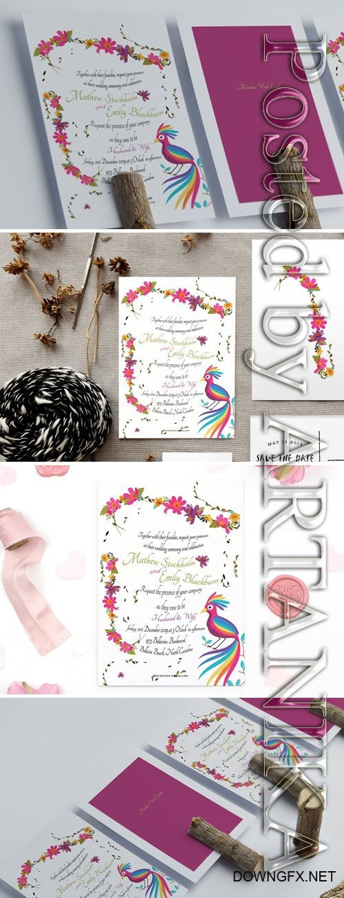 Colourful Floral Wedding Card