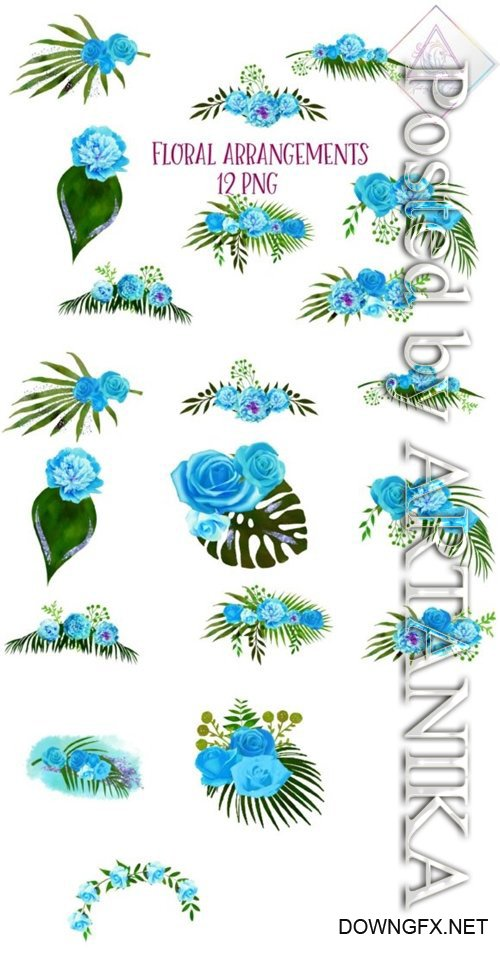 Blue Floral Arrangements PNG 1508631