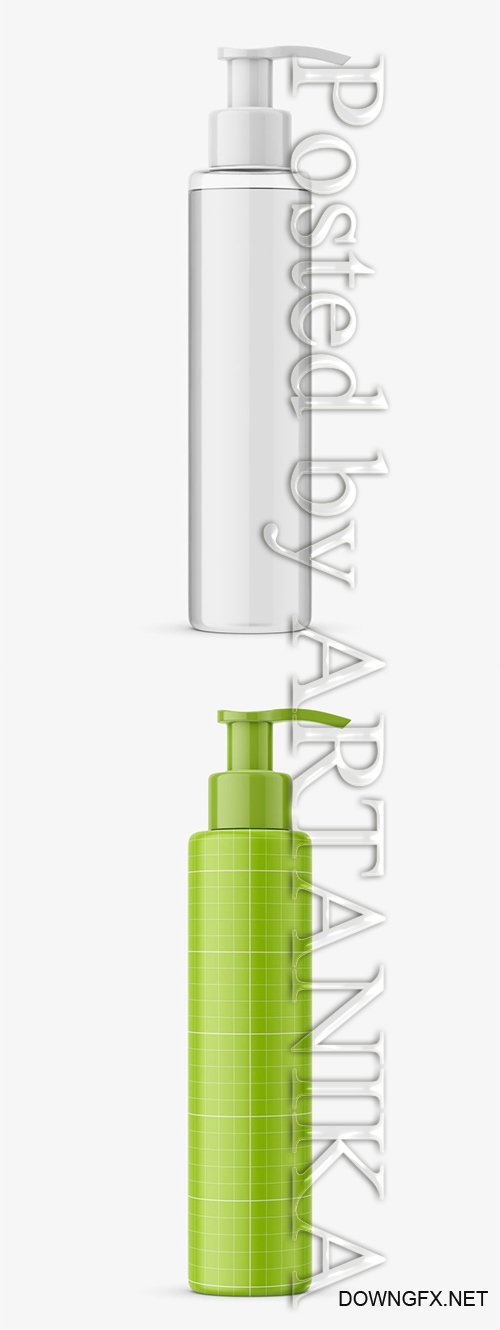 Transparent Bottle With Pump Mockup