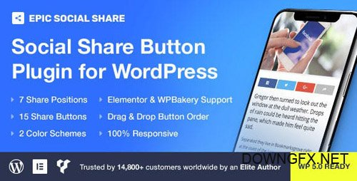 CodeCanyon - Epic Social Share Button for WordPress & Add Ons for Elementor & WPBakery Page Builder v1.0.0 - 23979971