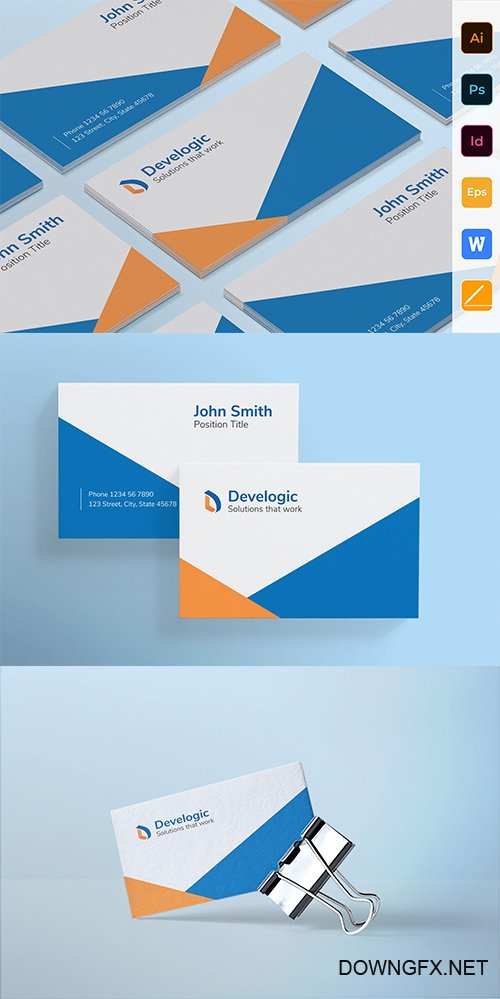 Web And Mobile App Development Business Card Template