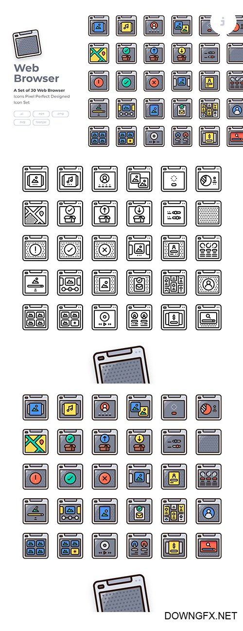 30 Web Browser Icon Vector set - Detailed Round line