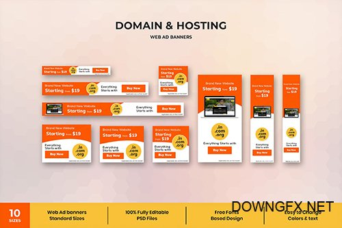 Domain & Hostings - Web Ad Banner Template