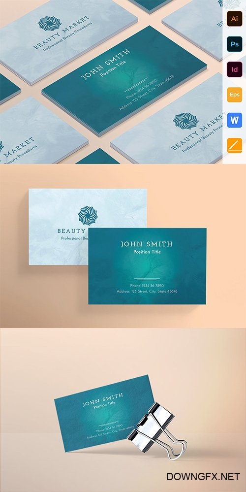 Beauty Market Business PSD and Vector Card