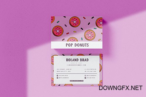 Pop Donuts Vector Business Card
