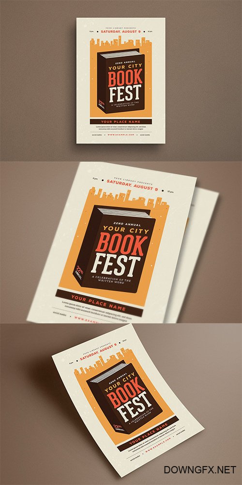 Book Festival Event PSD and AI Flyer