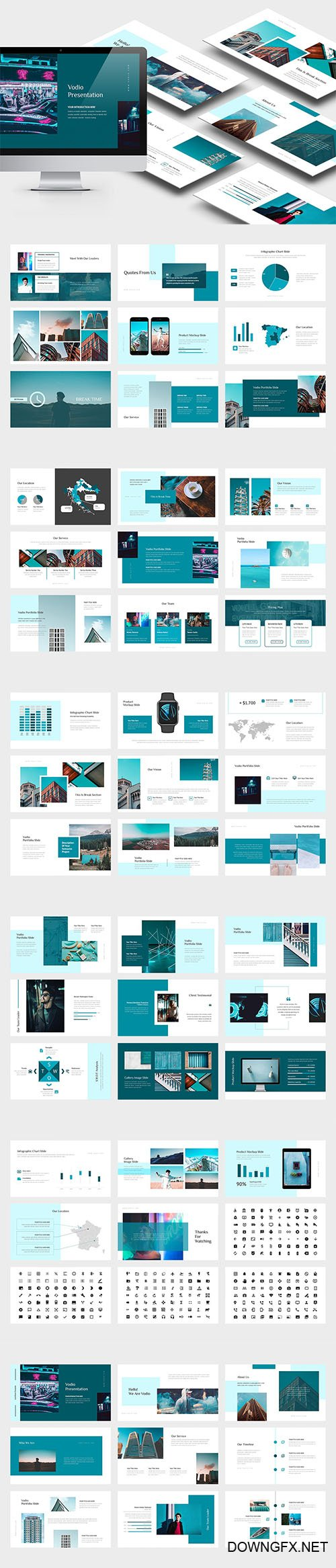 Vodio : Cyan Gradient Color Tone Powerpoint