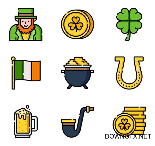 150 St. Patricks Day vector Icons (Lineal Color, Flat, Lineal)