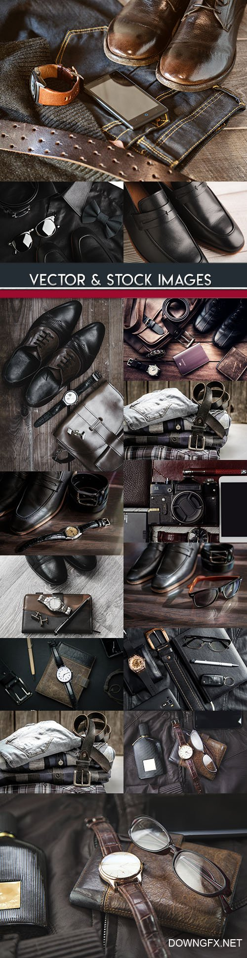Male elegant style fashion leather shoes and accessories 3