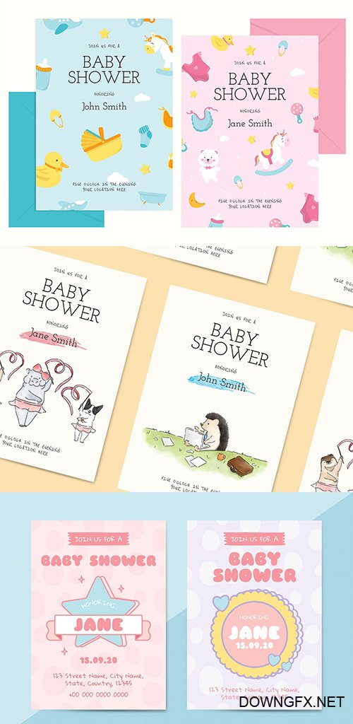 Cute Baby Shower Invitation Card Templates Vector Set