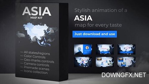 VH - Map of Asia with Countries - Asia Map Kit 24373281