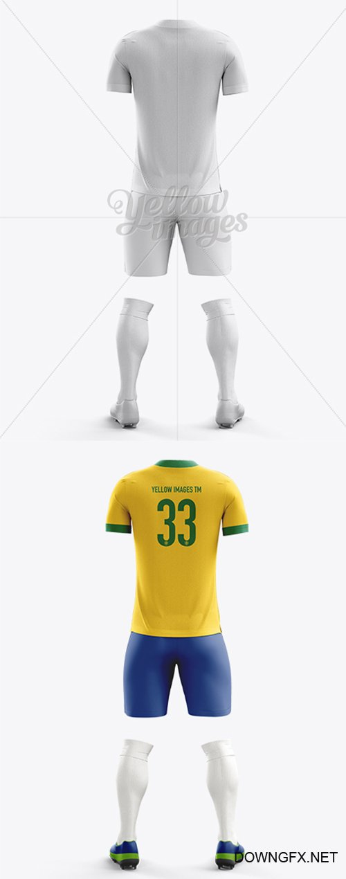Football Kit with V-Neck T-Shirt Mockup / Back View 10671  TIF