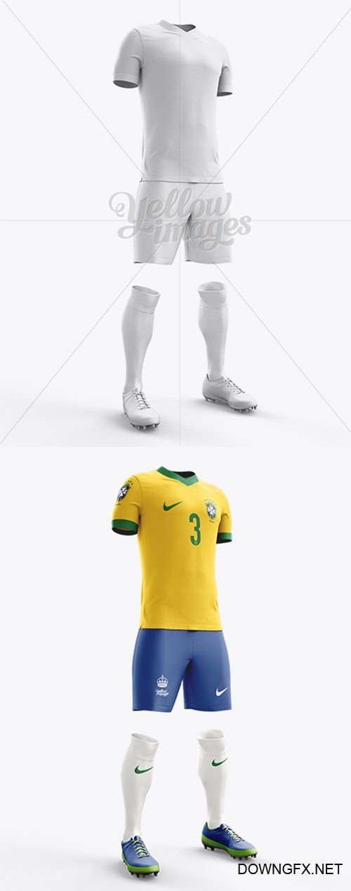 Football Kit with V-Neck T-Shirt Mockup / Half-Turned View 10667 TIF