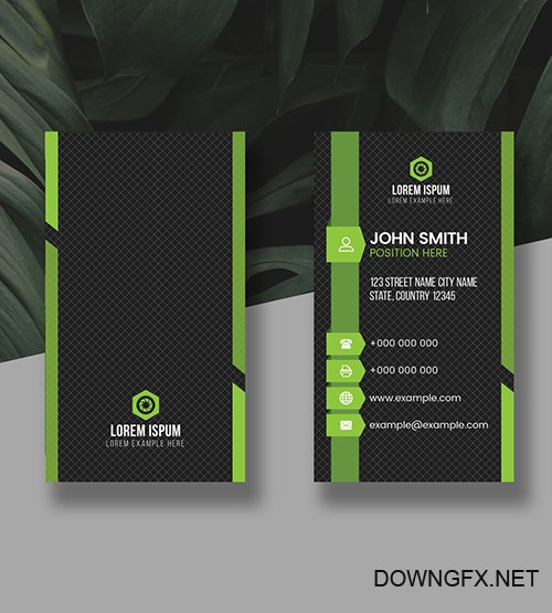 Green Vertical Business Card Layout 278998323 AIT
