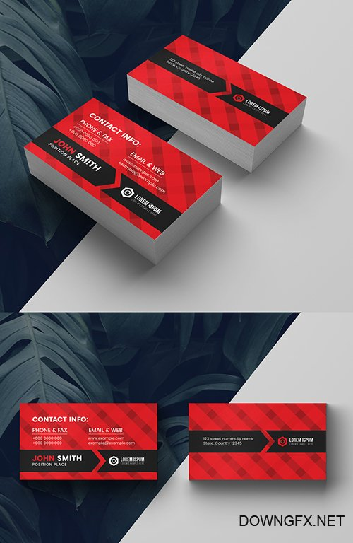 Corporate Business Card Layout with Red Accents 281127343 AIT