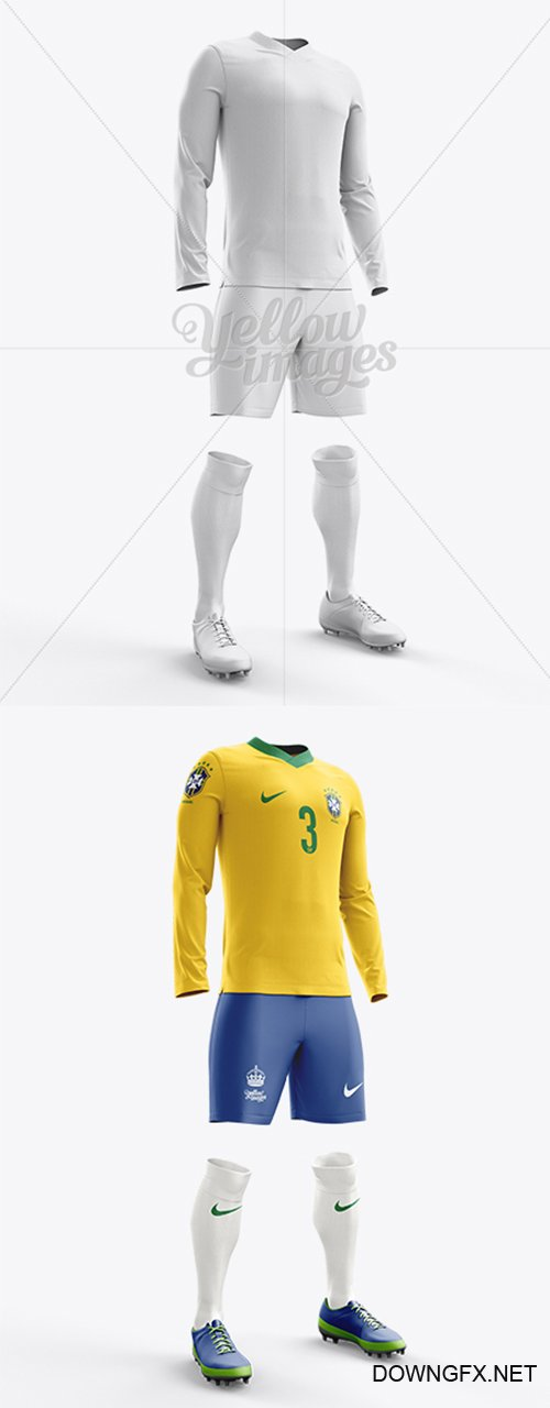 Football Kit with V-Neck Long Sleeve Mockup / Half-Turned View 10674 TIF
