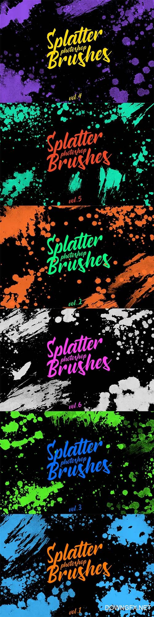Splatter Stamp Photoshop Brushes Vol. 1-6
