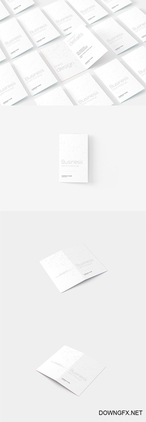 Folded Business Card PSD Mockup Set