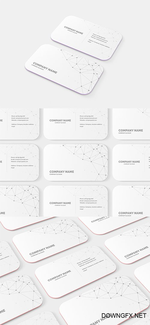 10 mm Round Corner Business Card PSD Mockup Set
