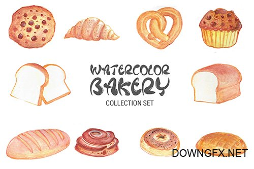 Watercolor Bakery Set IS