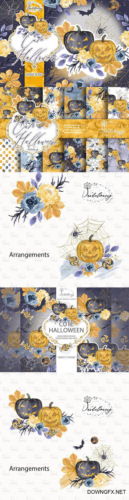 Cute Halloween design and digital paper