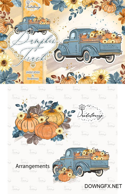 Pumpkin Truck Blue design PNG