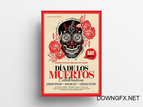 Dia De Los Muertos Illustrative Flyer Layout 295362290 PSDT