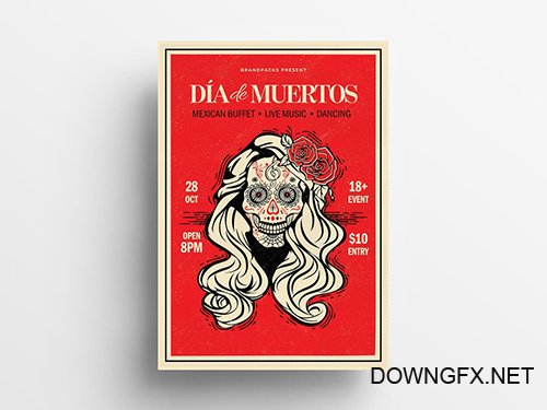 Dia De Los Muertos Illustrative Flyer Layout with Calaca 295362280 PSDT