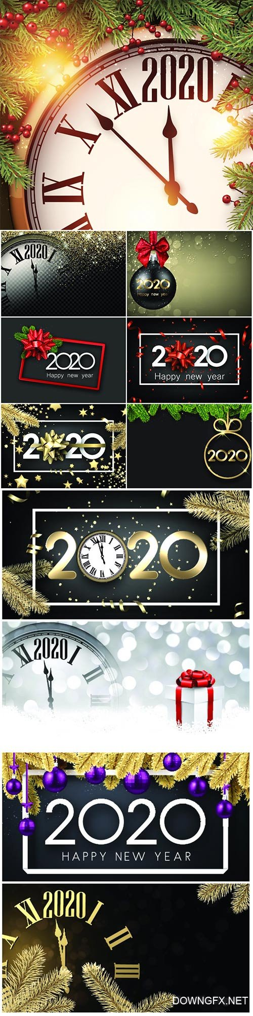 Happy New Year 2020 card with fir branches and Christmas balls