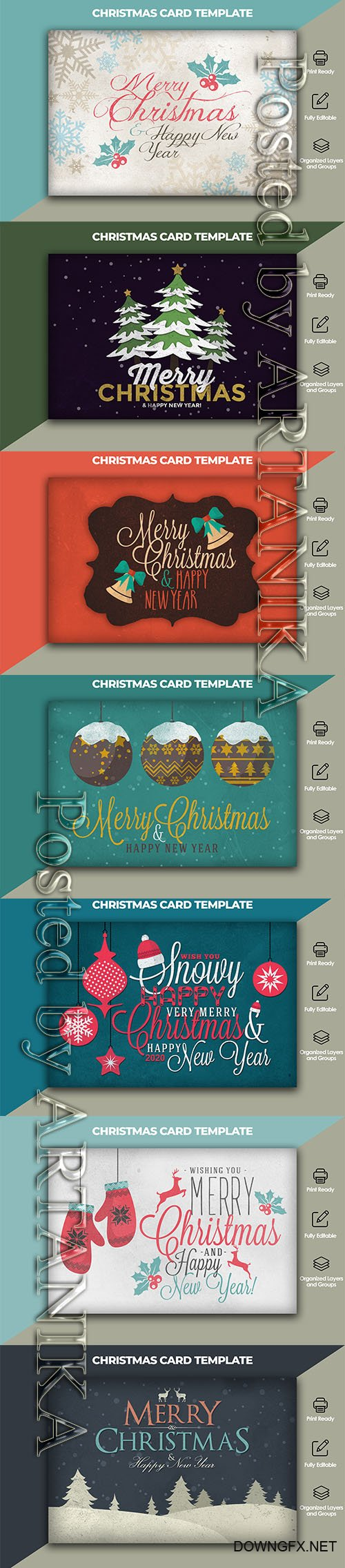 Christmas and New Year Card Template Pack